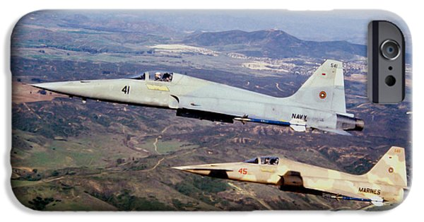 The Tiger iPhone Cases - Two F-5e Tiger Iis In Flight iPhone Case by Dave Baranek