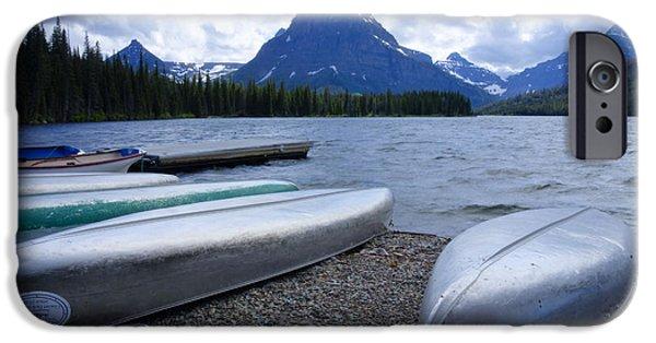 Canoe iPhone Cases - Two Medicine Lake iPhone Case by Idaho Scenic Images Linda Lantzy