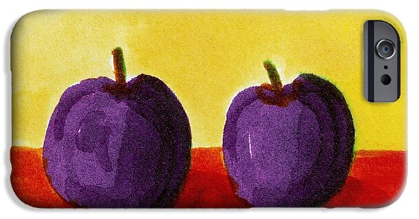 Vivid Drawings iPhone Cases - Two Plums iPhone Case by Michelle Calkins