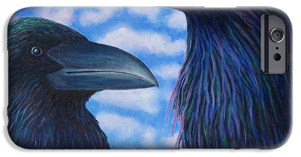 Corvid iPhone Cases - Two Ravens iPhone Case by Brian  Commerford