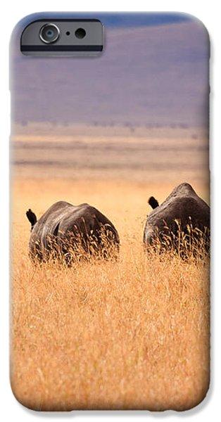 Two Rhino's iPhone Case by Adam Romanowicz