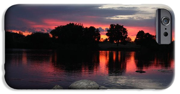 Reflections Of Sky In Water iPhone Cases - Two Rocks Sunset in Prosser iPhone Case by Carol Groenen