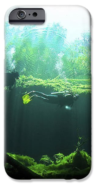 Two Scuba Divers In The Cenote System iPhone Case by Karen Doody