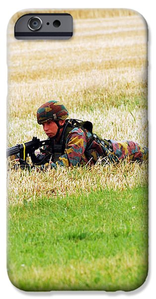 Two Soldiers Of The Belgian Army iPhone Case by Luc De Jaeger