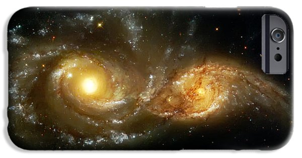 Cosmo iPhone Cases - Two Spiral Galaxies iPhone Case by The  Vault - Jennifer Rondinelli Reilly