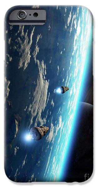 Two Survey Craft Orbit A Terrestrial iPhone Case by Brian Christensen