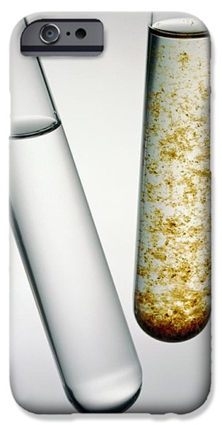 Water Pollution iPhone Cases - Two Test Tubes Of Contaminated Water iPhone Case by Tek Image
