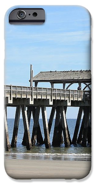 Tybee Island Pier Closeup iPhone Case by Carol Groenen