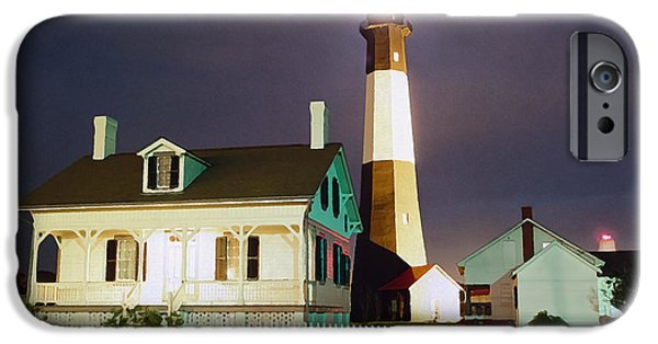 Tybee Island iPhone Cases - Tybee Light on Rainy Night iPhone Case by Patrick M Lynch