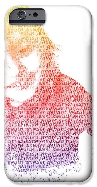 Typography Portrait Childhood Wonder iPhone Case by Nikki Marie Smith
