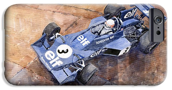 Racing iPhone Cases - Tyrrell Ford 007 Jody Scheckter 1974 Swedish GP iPhone Case by Yuriy  Shevchuk