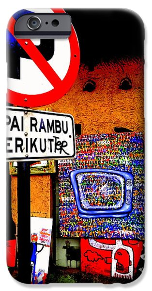 Abstract Digital Photographs iPhone Cases - Ubud Art Street  iPhone Case by Funkpix Photo Hunter