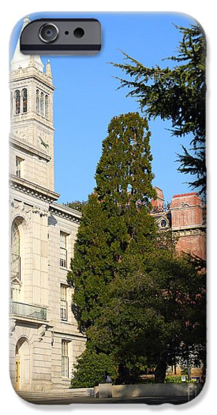 UC Berkeley . Sather Tower Campanile . Wheeler Hall . South Hall Built 1873 . 7D10040 iPhone Case by Wingsdomain Art and Photography