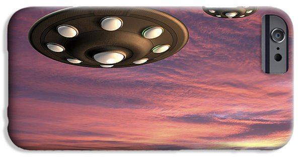 Science Fiction Drawings iPhone Cases - UFO Landing iPhone Case by Friedrich Saurer and Photo Researchers