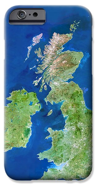 North Sea iPhone Cases - Uk And Ireland iPhone Case by Planetobserver