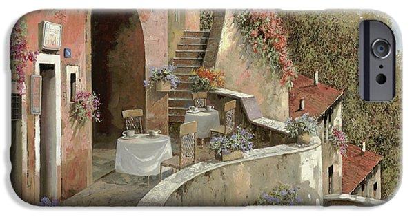 Village Paintings iPhone Cases - Un Caffe Al Fresco Sulla Salita iPhone Case by Guido Borelli