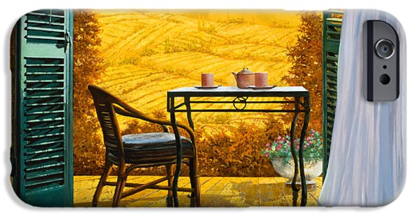 Chair Paintings iPhone Cases - Un Caldo Pomeriggio D iPhone Case by Guido Borelli