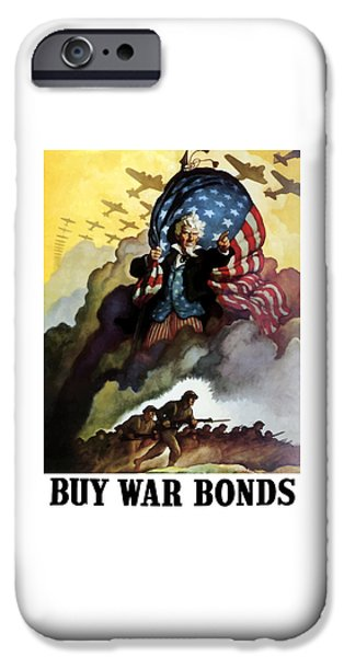 Americana iPhone Cases - Uncle Sam Buy War Bonds iPhone Case by War Is Hell Store