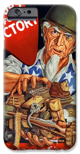 Uncle Sam iPhone Cases - Uncle Sam Yours For Victory iPhone Case by War Is Hell Store