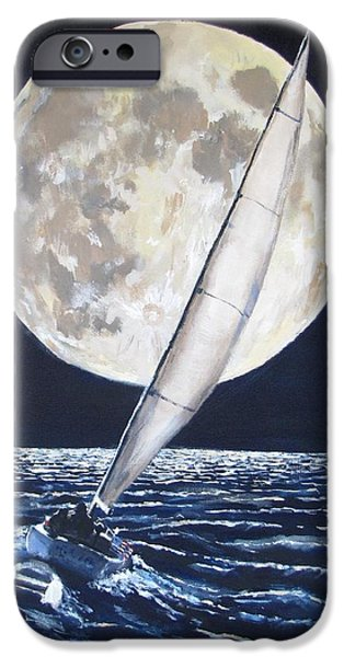 Jack Skinner iPhone Cases - Under Full Sail..Under Full Moon iPhone Case by Jack Skinner