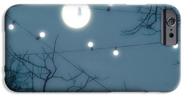 Surreal Landscape iPhone Cases - Under The Moonlit Sky iPhone Case by Gothicolors Donna Snyder
