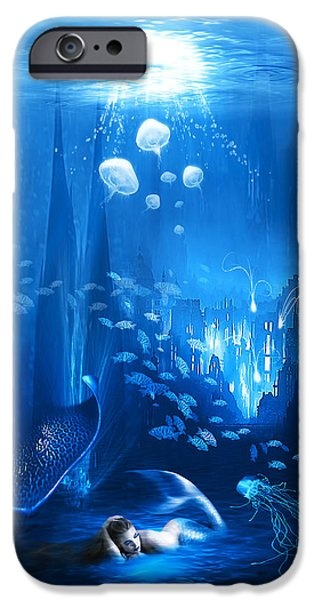 Abstract Digital Art Mixed Media iPhone Cases - Underwater World iPhone Case by Svetlana Sewell
