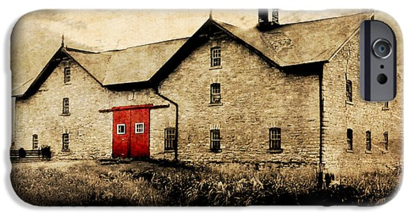 Red Door iPhone Cases - UNI Barn iPhone Case by Julie Hamilton