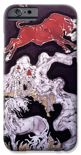 The Horse Tapestries - Textiles iPhone Cases - Unicorn and Red Bull iPhone Case by Carol  Law Conklin