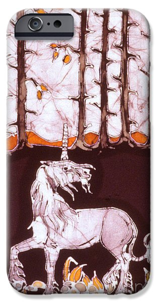 Unicorn Below Trees in Autumn iPhone Case by Carol  Law Conklin