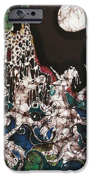 Unicorn in Sea Below Castle iPhone Case by Carol Law Conklin