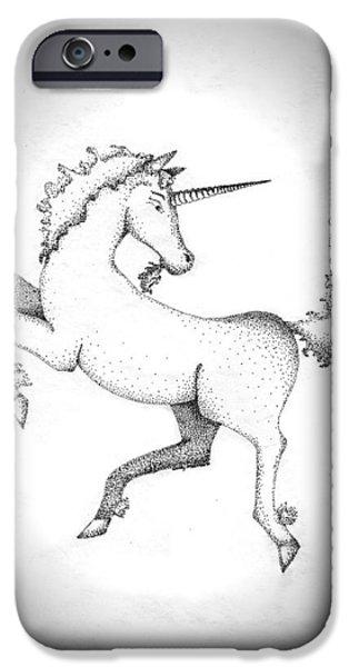Unicorn Art Greeting Card iPhone Cases - Unicorn iPhone Case by Wendy McKennon