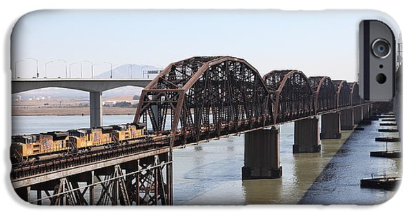Bay Bridge iPhone Cases - Union Pacific Locomotive Trains Riding Atop The Old Benicia-Martinez Train Bridge . 5D18849 iPhone Case by Wingsdomain Art and Photography