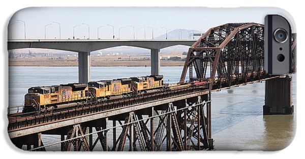 Bay Bridge iPhone Cases - Union Pacific Locomotive Trains Riding Atop The Old Benicia-Martinez Train Bridge . 5D18850 iPhone Case by Wingsdomain Art and Photography