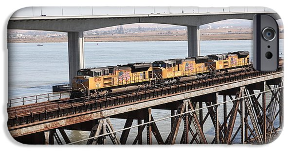 Bay Bridge iPhone Cases - Union Pacific Locomotive Trains Riding Atop The Old Benicia-Martinez Train Bridge . 5D18851 iPhone Case by Wingsdomain Art and Photography