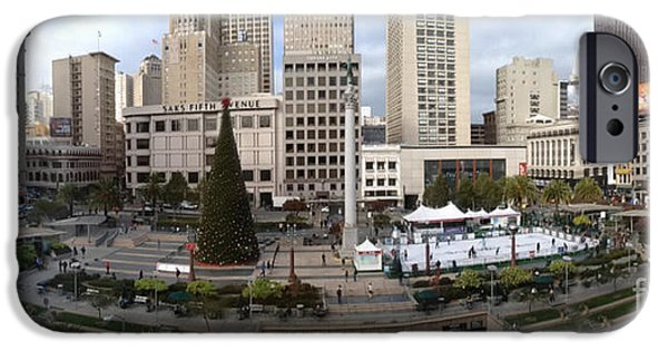 Union Square iPhone Cases - Union Square SF iPhone Case by Ron Bissett
