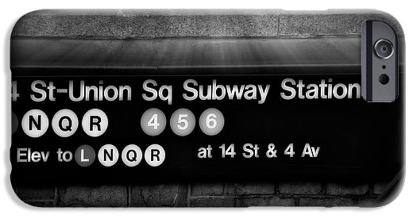 Union Square iPhone Cases - Union Square Subway Station BW iPhone Case by Susan Candelario