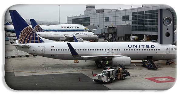United Airlines Passenger Plane iPhone Cases - United Airlines At Foggy SFO International Airport . 5D16937 iPhone Case by Wingsdomain Art and Photography