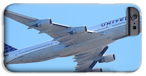United Airlines Passenger Plane iPhone Cases - United Airlines Boeing 747 . 7D7838 iPhone Case by Wingsdomain Art and Photography