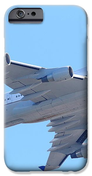 United Airlines Boeing 747 . 7D7838 iPhone Case by Wingsdomain Art and Photography