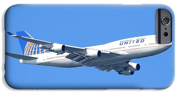 United Airlines Passenger Plane iPhone Cases - United Airlines Boeing 747 . 7D7850 iPhone Case by Wingsdomain Art and Photography