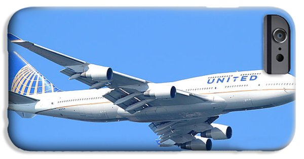 United Airlines Passenger Plane iPhone Cases - United Airlines Boeing 747 . 7D7852 iPhone Case by Wingsdomain Art and Photography