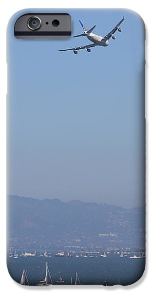 United Airlines Boeing 747 Over The San Francisco Bay At Fleet Week . 7D7860 iPhone Case by Wingsdomain Art and Photography