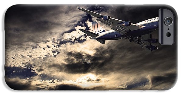 United Airlines Passenger Plane iPhone Cases - United Airlines . Flying The Friendly Skies iPhone Case by Wingsdomain Art and Photography