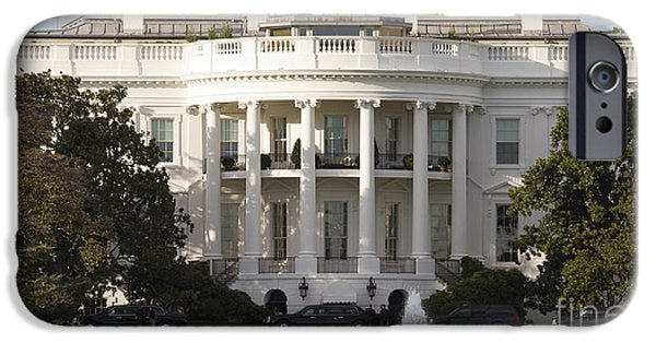 White House Photographs iPhone Cases - United States White House and Presidential Motorcade iPhone Case by Dustin K Ryan