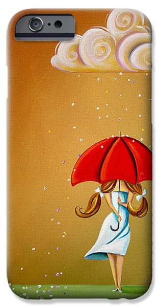 Red Umbrella iPhone Cases - Unpredictable iPhone Case by Cindy Thornton