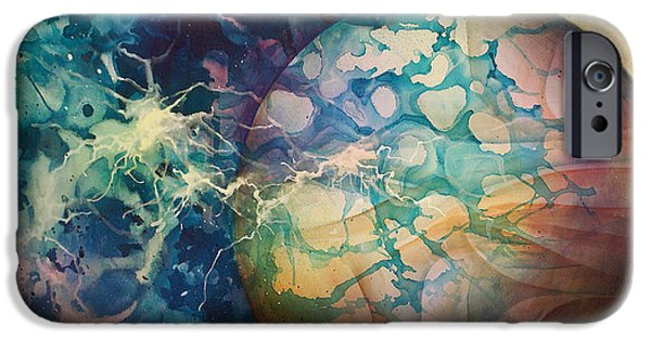 Cosmic Space Paintings iPhone Cases - Untitled iPhone Case by Michael Lang