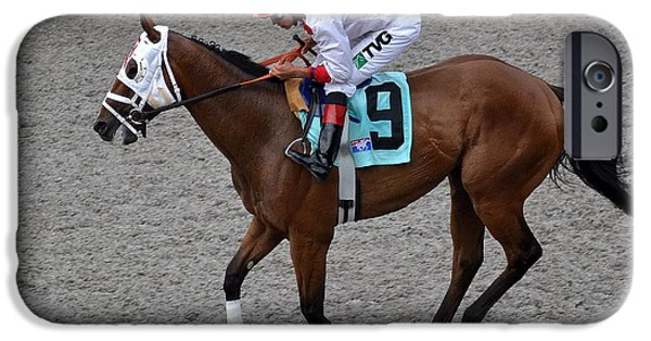 Horse Racing iPhone Cases - Up In My Seat iPhone Case by Fraida Gutovich
