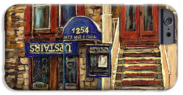 Montreal Land Marks Paintings iPhone Cases - Upstairs Jazz Bar And Grill Montreal iPhone Case by Carole Spandau