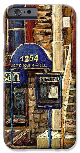 UPSTAIRS JAZZ BAR AND GRILL MONTREAL iPhone Case by CAROLE SPANDAU