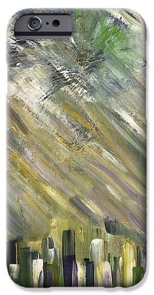 Asphalt Paintings iPhone Cases - Urban City iPhone Case by Marie Christine Belkadi